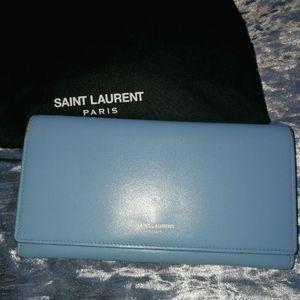 Saint Laurent classic large flap wallet light blue